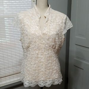 Lane Bryant Lace Pullover Top 14/16